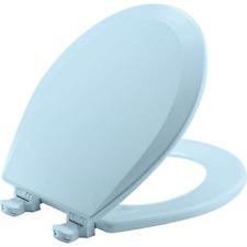 BEMIS ROUND Toilet Seat, Easy Clean Change Hinges Durable Enameled Wood Blue New