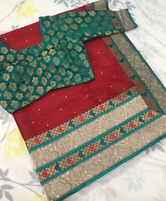 INDIAN TRADITIONAL ETHNIC BANARASI SILK SAREE BRIDAL PARTY WEAR MAROON/DARK RED