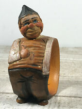 Lovely Wooden Hand-Carved Painted Anri Italy Jolly Man Napkin Ring