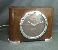 Vintage Bakelite Art Deco Desk Alarm Clock Smiths Electric Meridian Mid Century