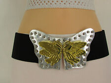 Women High Waist Black Stretch Trendy Belt Silver Gold Butterfly Buckle Size S M