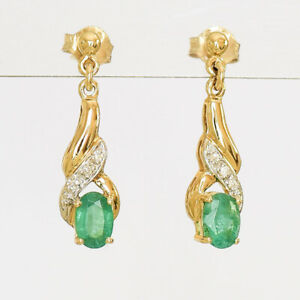 NATURAL EMERALD EARRINGS REAL DIAMONDS GENUINE 9K GOLD DROPS MAY BIRTHSTONE NEW