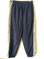 Men's Size Medium Reebok Blue Gray Lined Athletic Ankle Zip Drawstring Pants