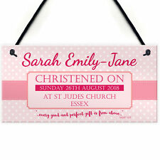 Personalised Christening New Baby Girl Baptism Hanging Plaque Naming Day Sign