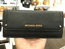NWT  MICHAEL KORS Hayes Pebbled Leather Slim Flat Wallet In Black