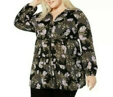 Style & Co Womens Top Black Purple 3x Plus Floral Print Button Down 177
