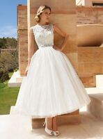 New Lace White/Ivory Short Wedding Dress Bridal Gown UK Size 6 8 10 12 14 16 18