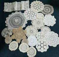 VTG  Lot of 21 Hand Crochet Doilies sizes White & Natur VTG Wedding Tea Party