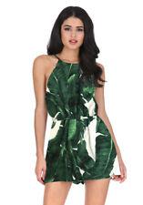 AX Paris Womens Playsuit Green Leaf Print Tie Waist Sleeveless Summer Romper
