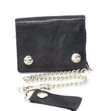 Large Black Soft Leather Chain Wallet Trucker Biker ID Card Holder Trifold New