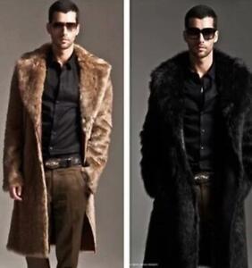 New Men Winter Warm Cozy Luxury Faux Fur Jacket Coat Long Parka Overcoat Outwear