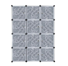 DIY 12 Cube Portable Closet Storage Organizer Clothes Wardrobe Cabinet W/Doors