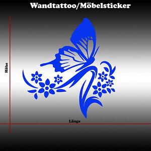 Wandtattoo Wandsticker Wandaufkleber Blumen Ranke Möbelaufkleber Schmetterling