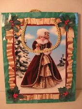 """Vintage Barbie in Christmas Gown 9.5"""" Gift Bag w/Gold Cord 1996 Hallmark Unused"""