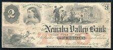 1857 $2 THE NEMAHA VALLEY BANK BROWNVILLE, NEBRASKA OBSOLETE BANKNOTE RARE