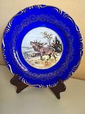 ANTIQUE COBALT BLUE GOLD ENCRUSTED DINNER PLATE ELK SCENE HANDPAINTED