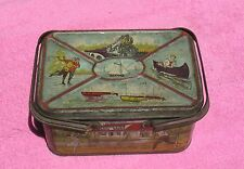 """1920's or 1930's Sports & Recreation 8 x 5 x 4"""" Lunch-Pail Design Tin Lunch Box"""