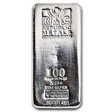 100 oz Republic Metals Corporation Silver Bar - SKU #84703