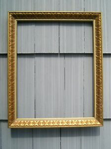 Vintage Mid Century Modern Red Gold Picture Frame Pressed Wood 16 x 20