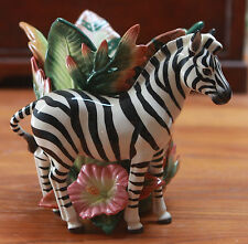 "FITZ AND FLOYD EXOTIC JUNGLE ZEBRA FIGURINE 7""H X 8""W X 7""D RARE BRAND NEW"