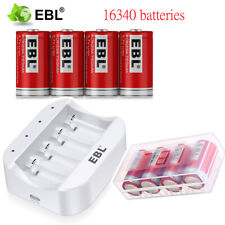 CR123A 750mAh Rechargeable Batteries 16340 Battery 3.7V Li-ion + 4 slot Charger