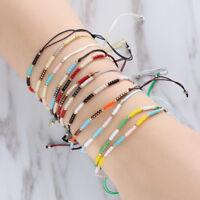 Thin Love Lucky Bangles Seed Bead Bracelets Handmade Weave Summer Beach Anklet