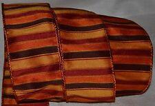 "Wired Ribbon~Fall Rust Stripe~Autumn Orange~Brown~Harvest Gold~2.5""~Wreath~Bow"
