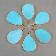 Free Wholesale 5Pcs Natural Turquoise Slice Pendant Gold Plated TG0205