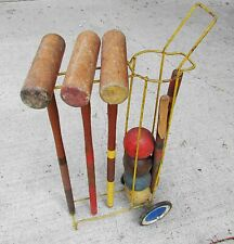 """Vintage Croquet Set Wire Stand 3 Mallets 4 Balls Sports Game Display 29"""" Free Sh"""