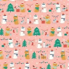 100% Cotton Fabric Festive Friends by Dashwood Studio - Christmas Cats Pink