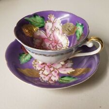 vintage saji japan fancy china footed tea cup and saucer set Purple Rose Peony