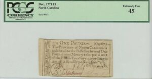North Carolina Colonial Note Dec, 1771 1 Pound PCGS 45 Extremely Fine