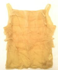 Helmut Lang 1980's Vintage Archival Ruffle Front Yellow Tank Top Sz 9 Japanese S