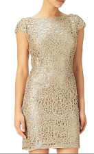 Adrianna Papell 12P Shift Dress Gold Sequin Chemical Lace Cap Sleeve Boat Neck