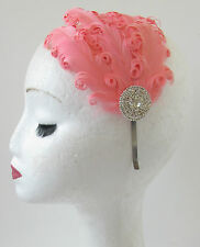 Coral Pink Feather Fascinator Headpiece Silver Vintage 1920s Headband Deco S71