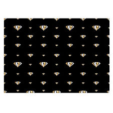 Unique High Quality Gold Diamonds/Black Background Gift Wrap-(297x420mm)-GP191