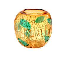 "New 12"" Hand Blown Glass Art Vase Bowl Amber Green Decorative"