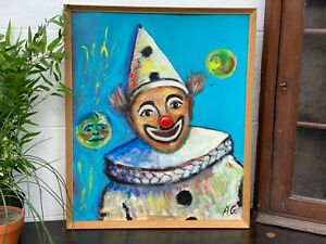 Vintage Retro Framed Portrait Painting Of A Clown On Board Signed AG 1970s Art