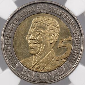 2008 SOUTH AFRICA 5 RAND NGC MS62 NELSON MANDELA 90TH BIRTHDAY CHOICE BU (MR)
