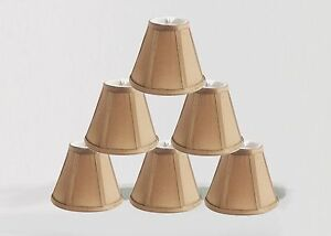 Urbanest Empire Chandelier Lamp Shade in Silk,Set of 6,Bell 3x6x5 Taupe,Softback