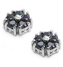 Silver Earrings with Cubic Zirconia Stud Rainbow Topaz Height 11 mm (0.43 inch)