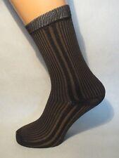 Striped patterned Nylon/Polyester socks. Retro/vintage style. DARK BROWN