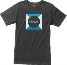 RVCA T-SHIRT MEDIUM GRAY BASIC BOX GRAPHIC SURF TEE VINTAGE SOFT