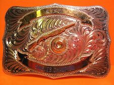 QUALITY Sterling Silver Front CUST M BILT Rifle Shooting Trophy Belt Buckle