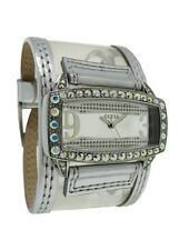 Guess W95039L1 Womens Clear Lucite Stainless Steel & Silver Leather Analog Watch