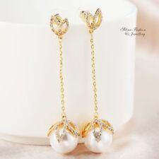 18K Yellow Gold Filled Simulated Diamond Flower Pearl Drop Dangling Earrings
