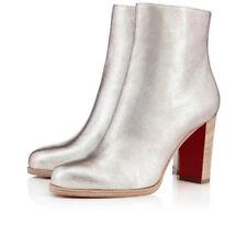 NIB Christian Louboutin Adox 85 Metallic Silver Heel Ankle Bootie Boot 39.5 $945