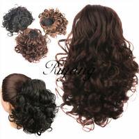 Hair Bun Medium Long Curly Short Ponytail Extensions Drawstring Hairpiece Black