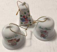 "Vintage 3 Mini Bell Russ Porcelain Christmas Tree Ornaments 1988 Mouse Cat 2"""