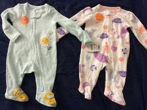2 Newborn Girls' One Piece Sleepers by Just One You-NEW WITH TAGS.